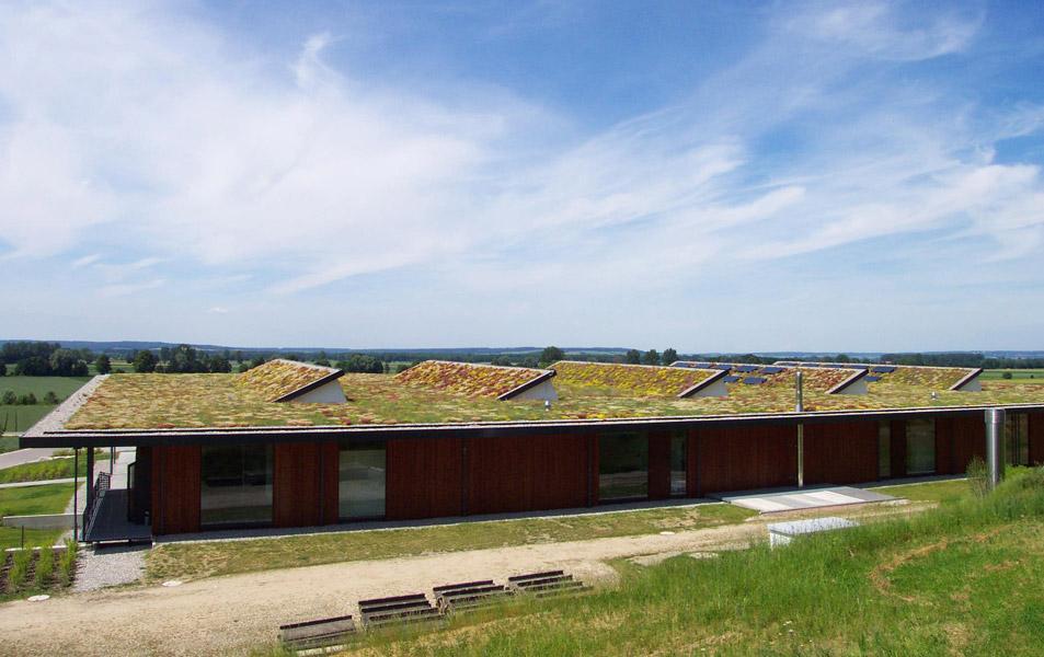 Dachbegrünung auf dem Turnleistungszentrum im schwäbischen Buttenwiesen