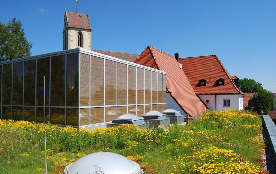 Extensive Dachbegrünung auf dem Dach der Aussegnungshalle Schönaich