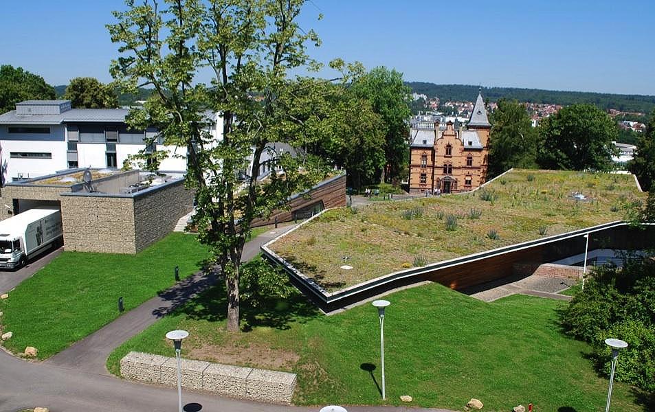 Blick auf das Gründach des SAP-Standorts in St. Ingbert