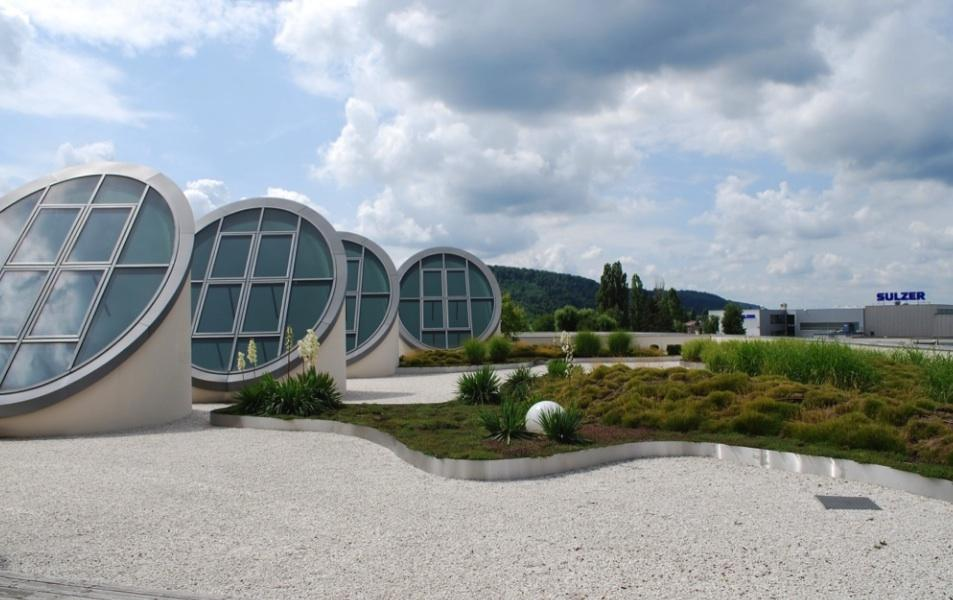 Gründach der Firma SEW-EURODRIVE in Bruchsal