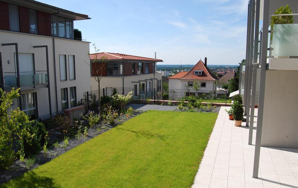 Dachbegrünung eines Wohnhauses am Schlosspark in Weinheim